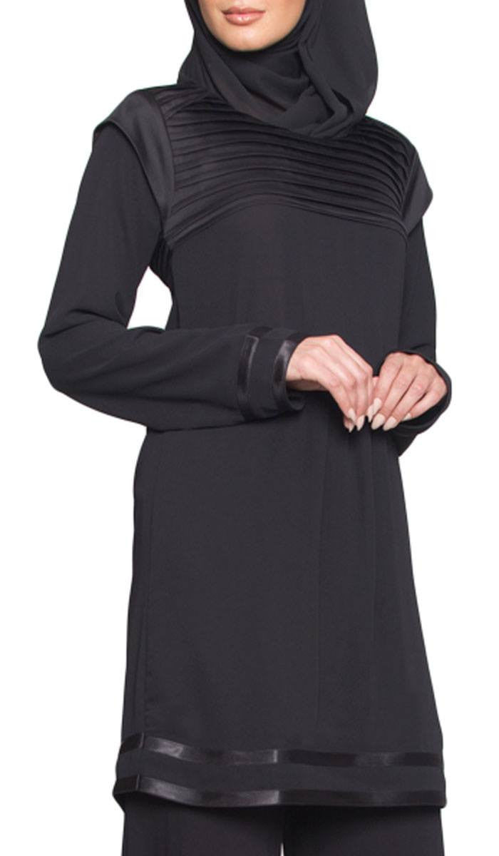 Jenice Formal Long Tunic Dress - Black