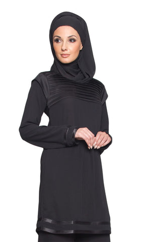 Jenice Formal Long Tunic Dress - Black - ARTIZARA.COM