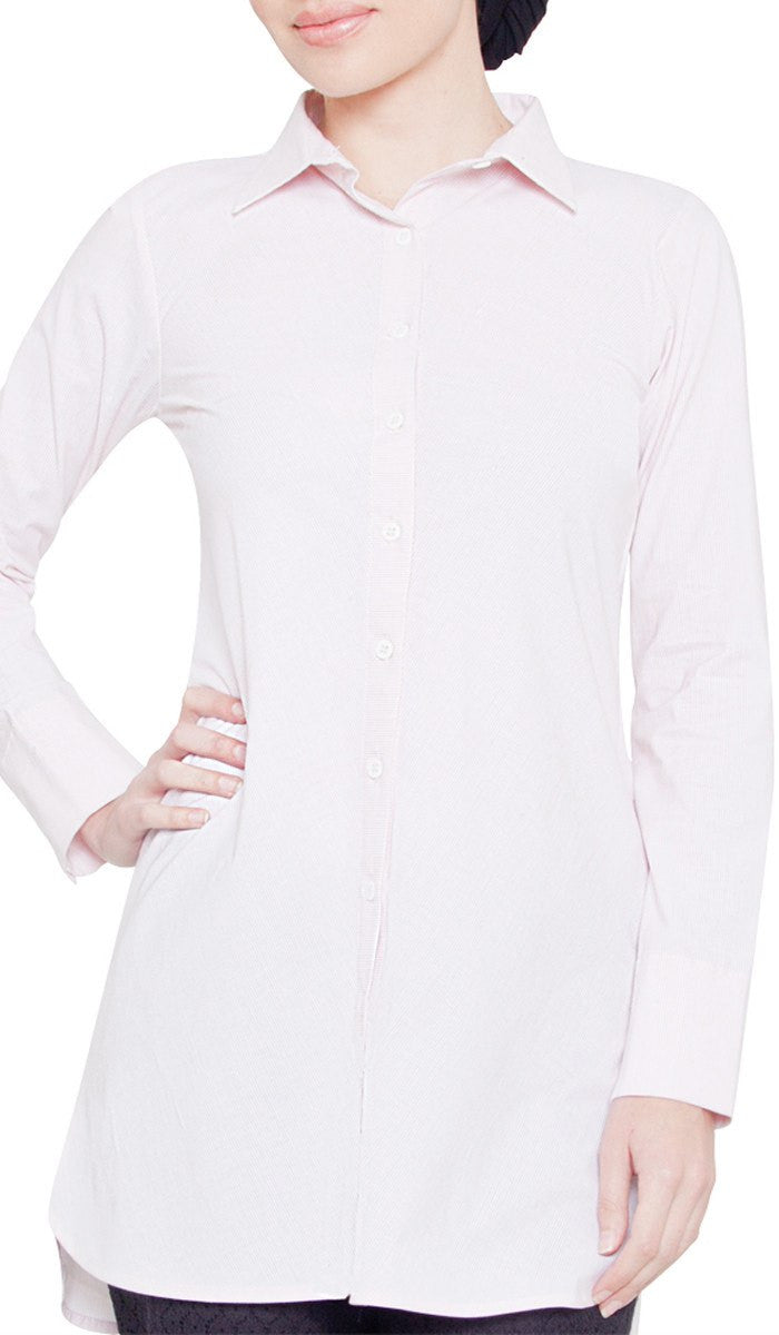 Kabria Pin Stripe Long Buttondown Dress Shirt - Pink - ARTIZARA.COM