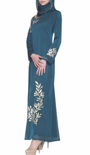 Kendall Long Sleeve Modest Muslim Formal Evening Dress - Blue Green - ARTIZARA.COM
