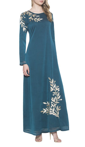 Kendall Long Sleeve Modest Muslim Formal Evening Dress - Blue Green