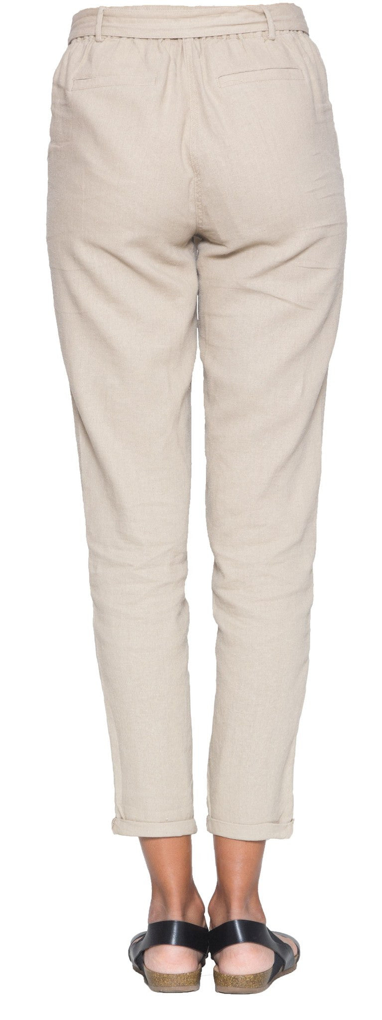 Elise Linen Blend Loose Tapered Pants - Khaki - ARTIZARA.COM