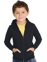 Kid's Smiley Designer Islamic Zip Hoodie-USA KIDS 6 YEARS (28 in./71.1 cm.)Garment Chest -Charcoal