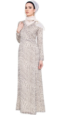 Kulus Abstract Print Chiffon Maxi Dress Abaya - Cream