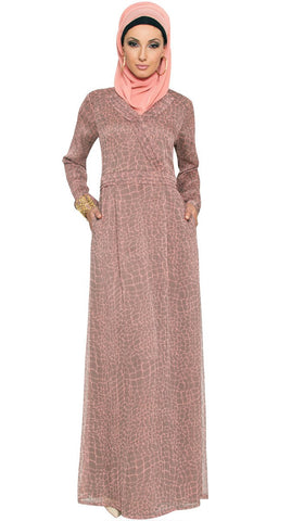 Kulus Abstract Print Chiffon Maxi Dress Abaya - Mocha - ARTIZARA.COM