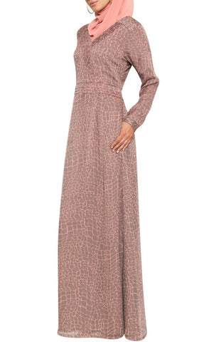 Kulus Abstract Print Chiffon Maxi Dress Abaya - Mocha