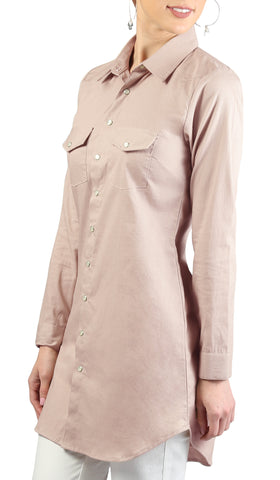 Lana Long Button-down Shirt - Blush