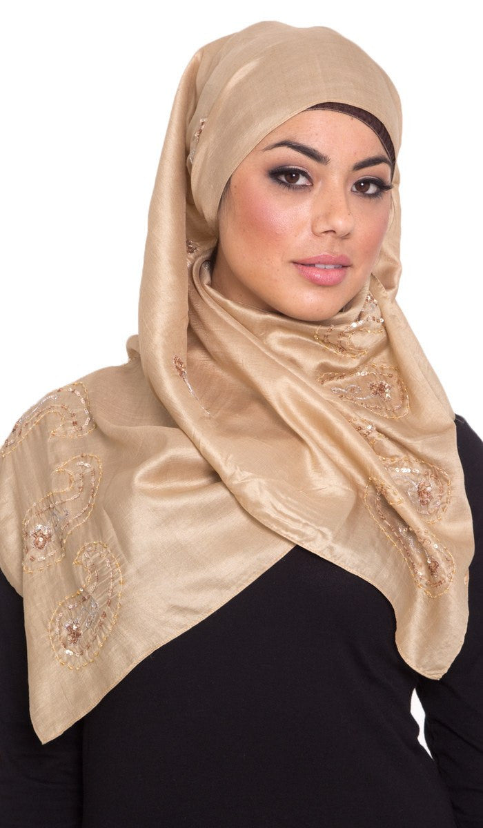 Layla Hand Embroidered Silk Wrap Hijab Scarf