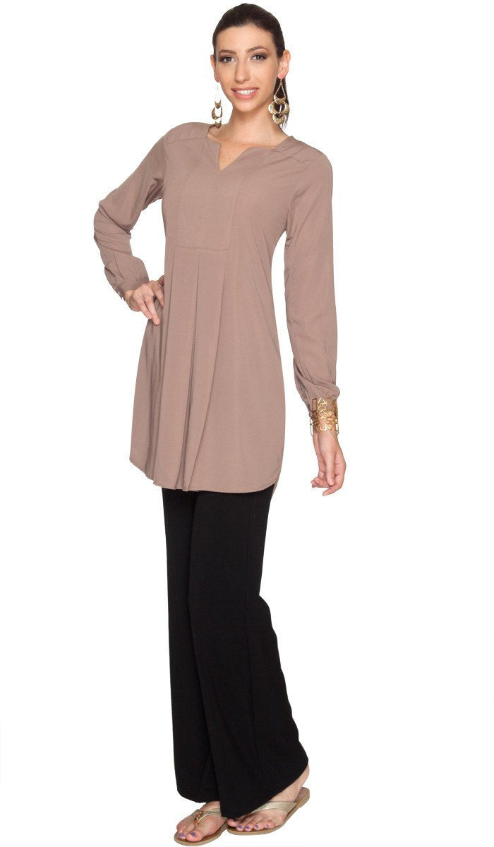 Leah Long Tunic Dress - Mocha - ARTIZARA.COM