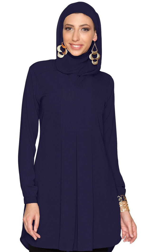Leah Long Tunic Dress - Navy - ARTIZARA.COM