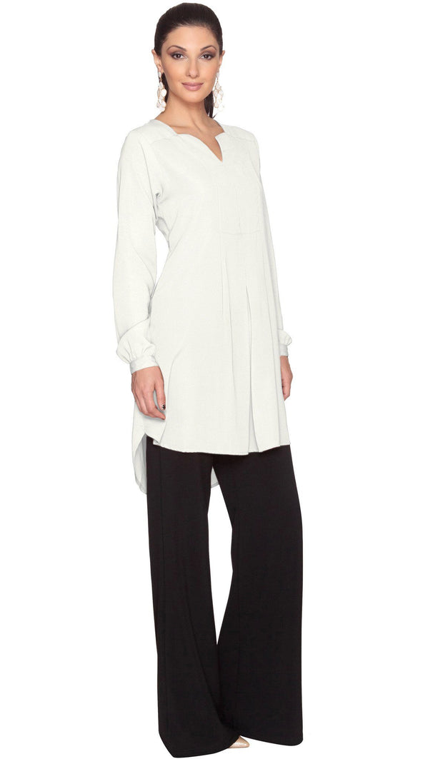 Leah Long Tunic Dress - Ivory - ARTIZARA.COM