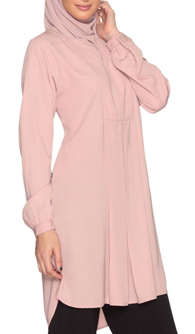 Leah Long Tunic Dress - Dusty Rose - ARTIZARA.COM