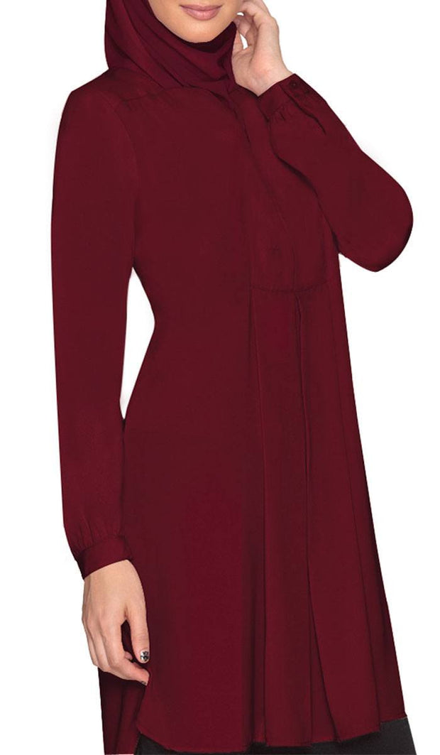 Leah Long Tunic Dress - Maroon - ARTIZARA.COM