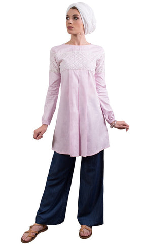 Leena Long Lace Accent Fine Cotton Tunic - Blush