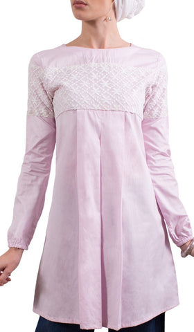 Leena Long Lace Accent Fine Cotton Tunic - Blush - ARTIZARA.COM