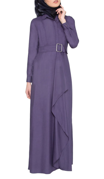 Liba Belted Long Maxi Dress - Sapphire - ARTIZARA.COM