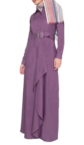 Liba Simple Belted Long Maxi Dress - Purple - ARTIZARA.COM