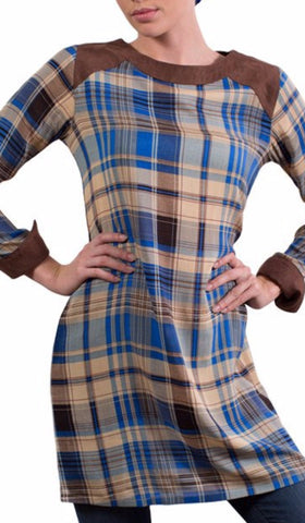 Petra Modest Long Plaid Tunic Dress Blue and Brown