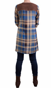 Petra Long Plaid Tunic Dress - Blue - ARTIZARA.COM