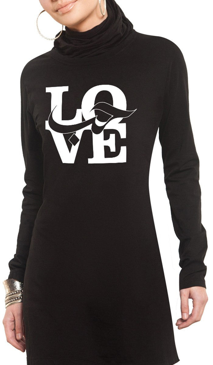 a540a3c79236 Womens Love Designer Long Sleeve Black t shirt | Designer Islamic T ...