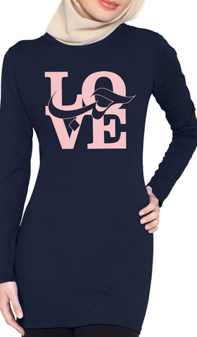 Love Designer Long Tee - Navy - ARTIZARA.COM