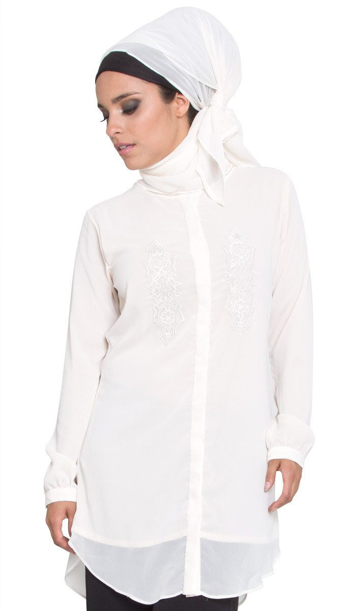 Soft Chiffon Rectangular Wrap Hijab - Off White - ARTIZARA.COM
