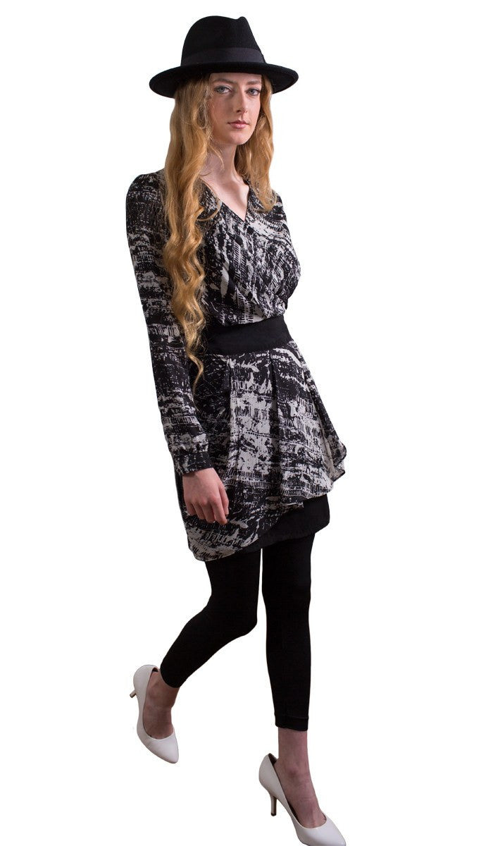 Fatima Chiffon Long Modest Muslim Tunic Dress - Black & White