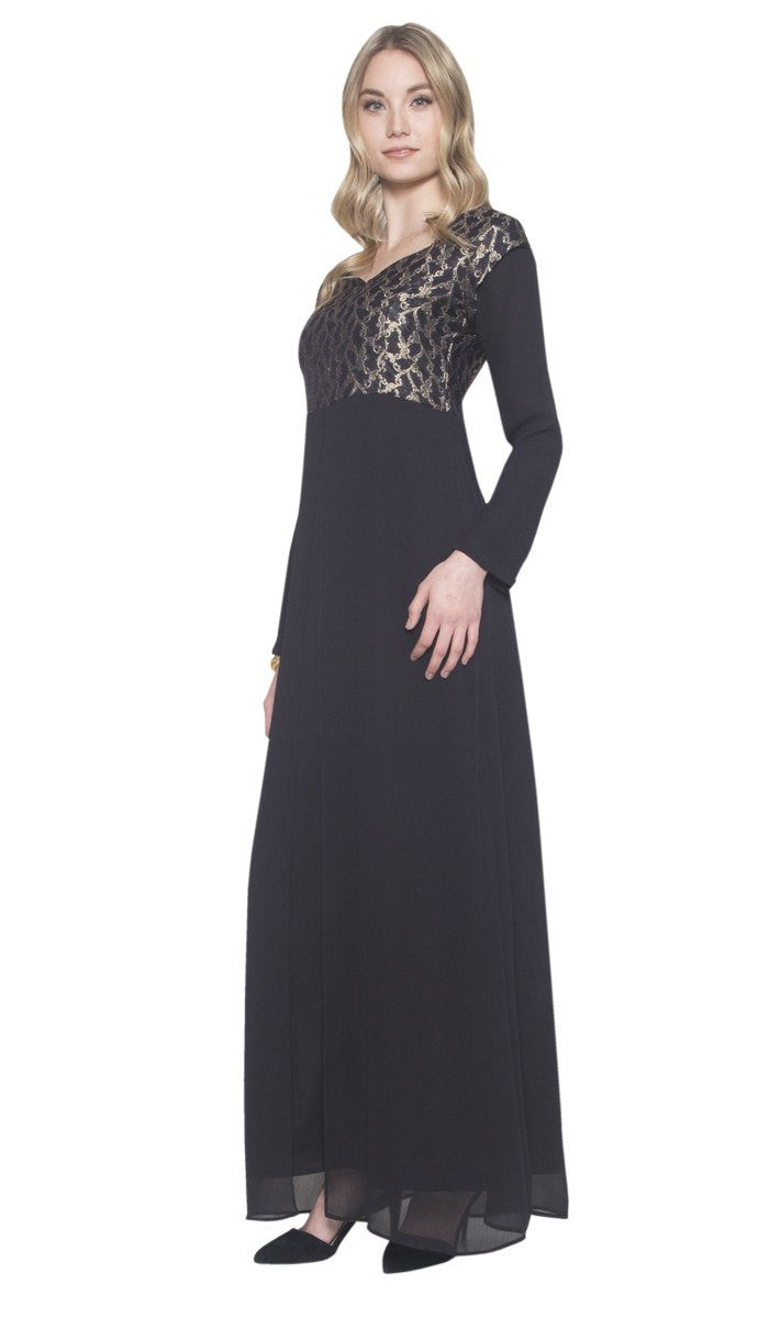 Marcella Long Sleeve Modest Muslim Formal Evening Dress - Black Gold - ARTIZARA.COM