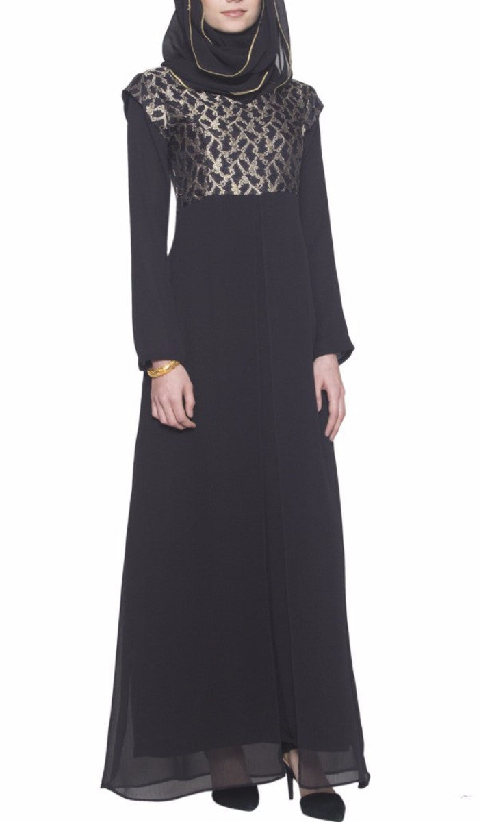 Marcella Long Sleeve Modest Muslim Formal Evening Dress - Black Gold