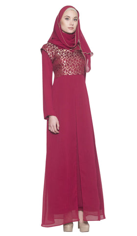 Marcella Long Sleeve Modest Muslim Formal Evening Dress - Maroon - ARTIZARA.COM