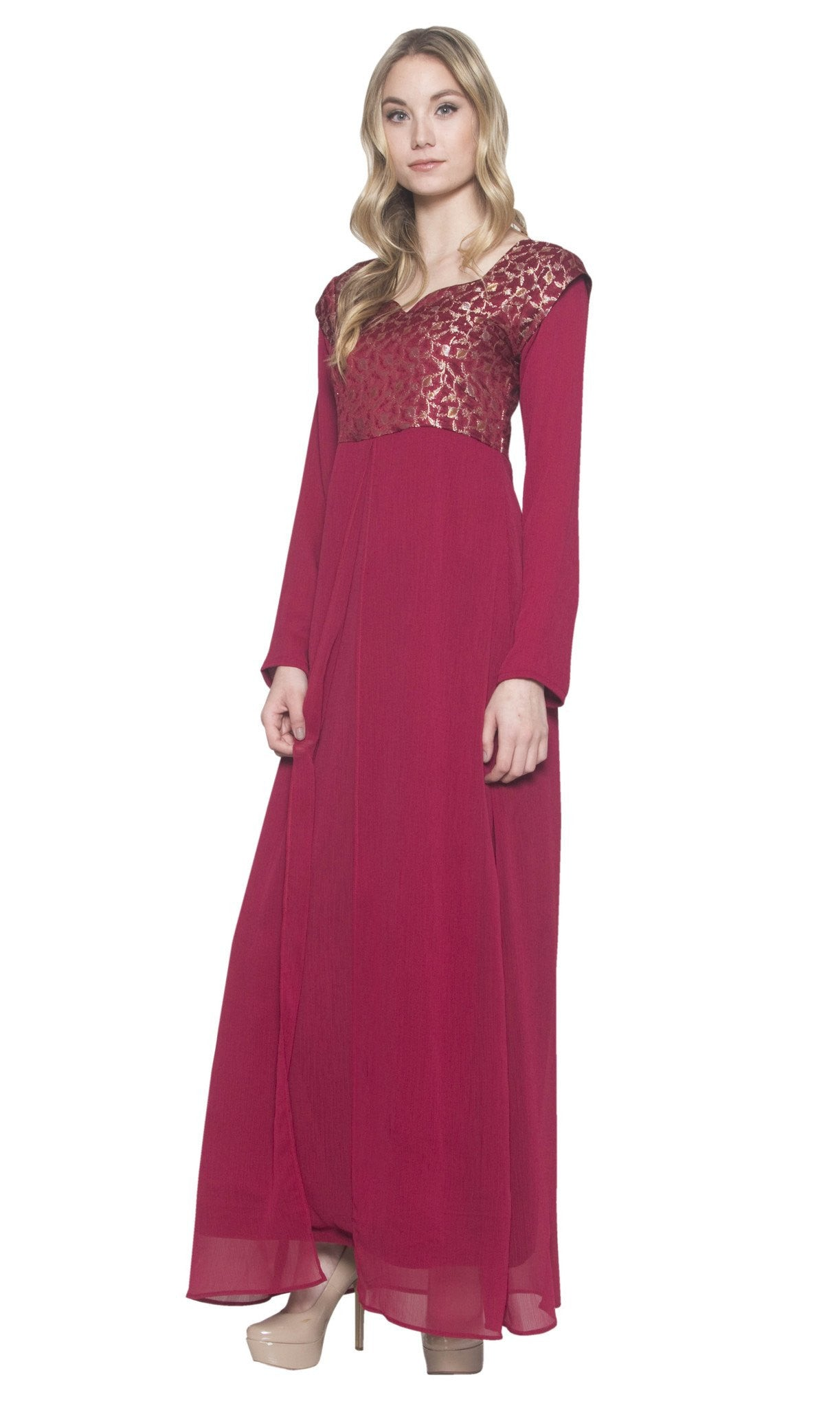 Chic Long Sleeve Modest Muslim Formal Evening Dress Maroon Red ...