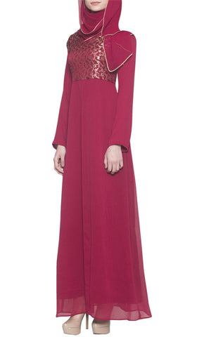 Marcella Long Sleeve Modest Muslim Formal Evening Dress - Maroon