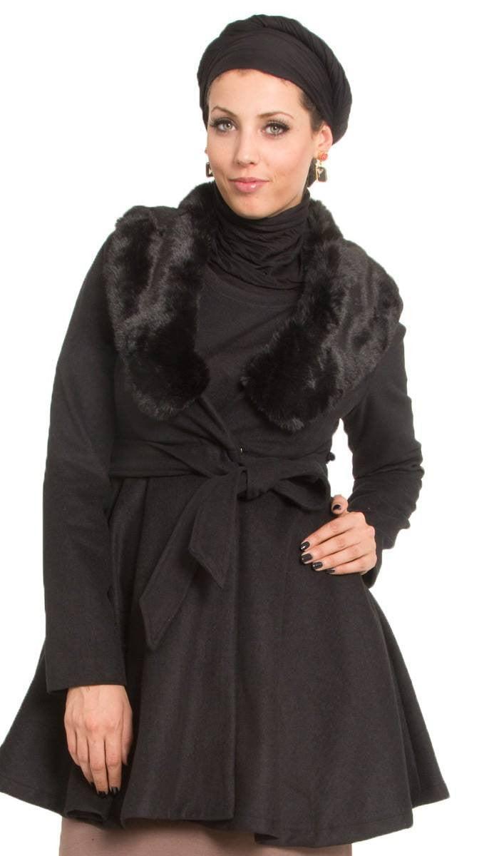 Marina Long Belted Jacket with Detachable Fur Collar - Black