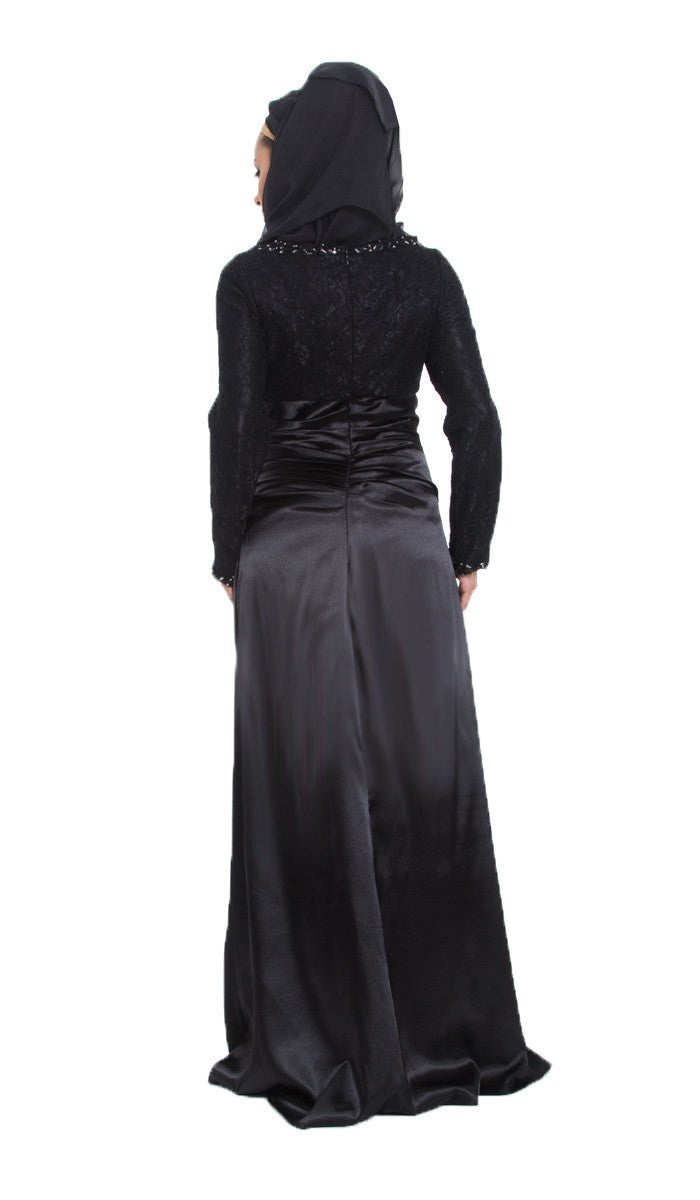 Maria Long Sleeve Silk Modest Muslim Formal Evening Dress - Black
