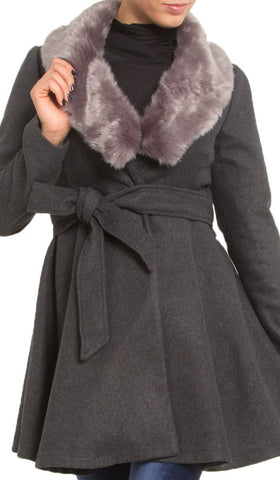 Marina Long Belted Jacket with Detachable Fur Collar - Gray - ARTIZARA.COM