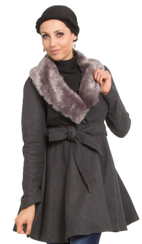 Marina Long Belted Jacket with Detachable Fur Collar - Gray
