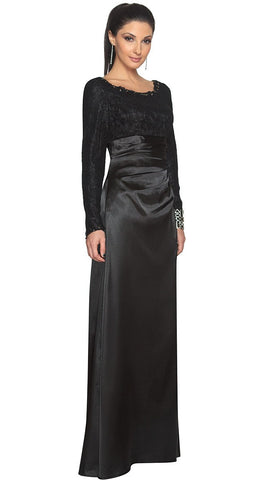 Maria Long Sleeve Silk Modest Muslim Formal Evening Dress - Black -  ARTIZARA.COM 49941a4d9