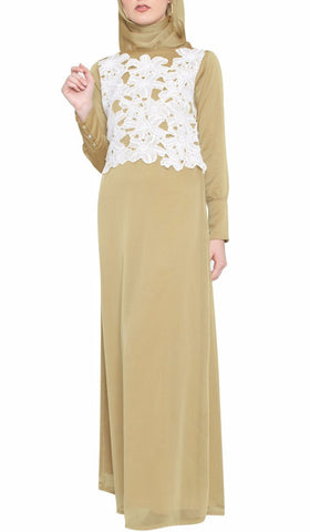 Marian Long Sleeve Modest Muslim Formal Evening Dress - Beige Gold - ARTIZARA.COM