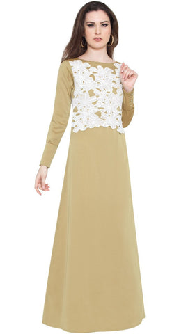 Marian Long Sleeve Modest Muslim Formal Evening Dress - Beige Gold