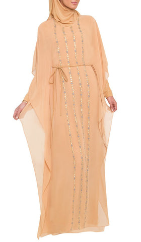 Mariel Modest Muslim Evening Dress Abaya - Beige Gold - ARTIZARA.COM