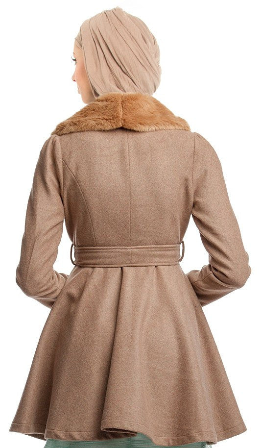 Marina Long Belted Jacket with Detachable Fur Collar - Tan - ARTIZARA.COM