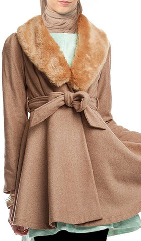 Marina Long Belted Jacket with Detachable Fur Collar - Tan