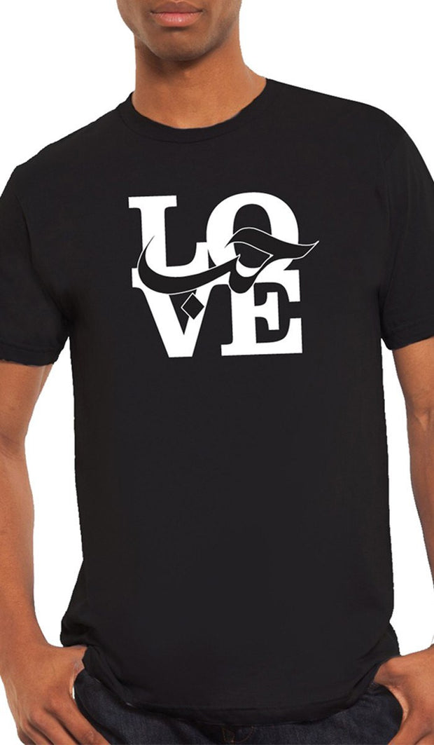 Mens Love Short Sleeve Designer Tee - Black - ARTIZARA.COM