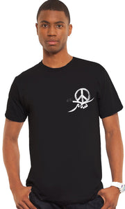 Mens Peace Short Sleeve Designer Tee - Black - ARTIZARA.COM
