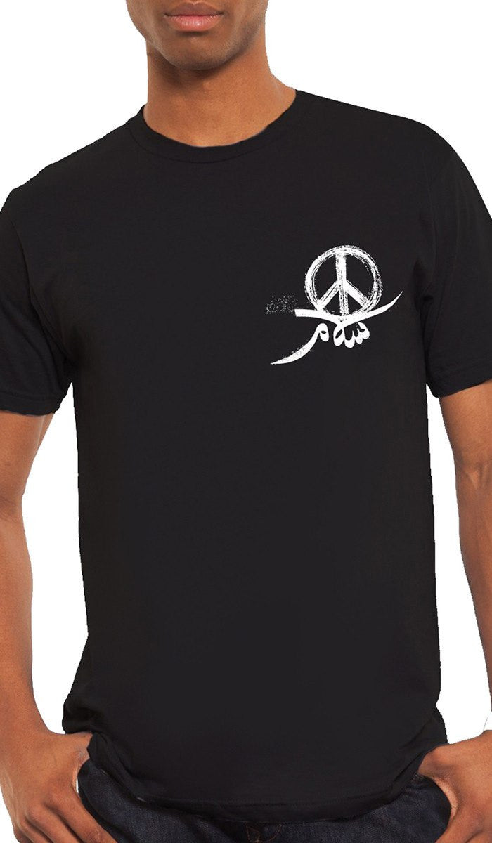 Mens Peace Short Sleeve Designer Tee - Black