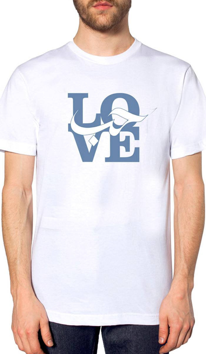 Mens Love Short Sleeve Designer Tee - White