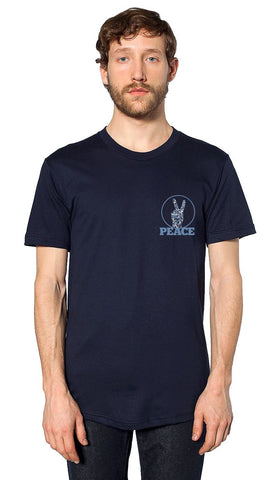 Mens Peace V Sign Short Sleeve Designer Tee - Navy - ARTIZARA.COM