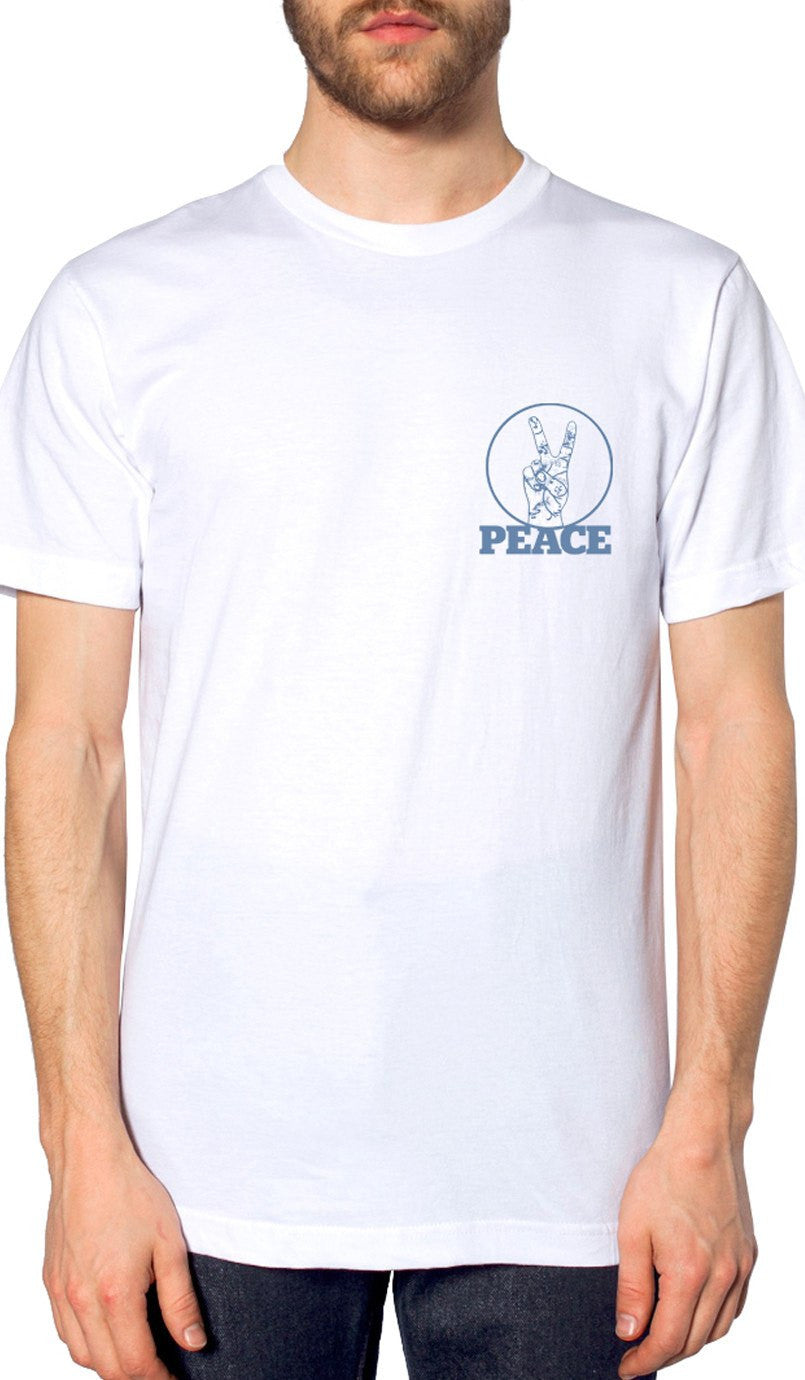Mens Peace V Sign Short Sleeve Designer Tee - White