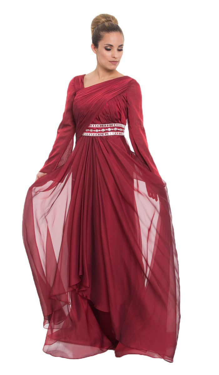Long Sleeve Maroon Red Silk Modest Muslim Formal Evening Dress ...