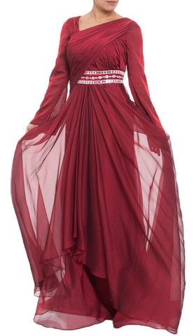 Michel Long Sleeve Modest Muslim Formal Evening Dress - Maroon Red